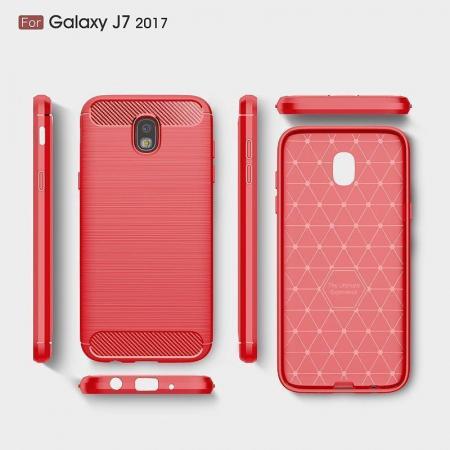 Husa  Samsung Galaxy J7 2017 Tpu Carbon Fibre Brushed - rosu6