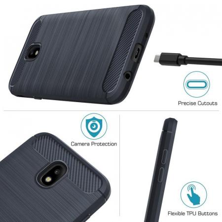 Husa  Samsung Galaxy J7 2017 Tpu Carbon Fibre Brushed - albastru4