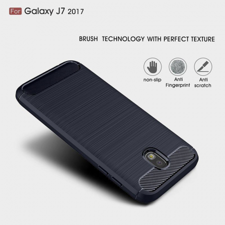 Husa  Samsung Galaxy J7 2017 Tpu Carbon Fibre Brushed - albastru2