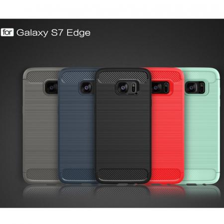 Husa Tpu Carbon Fibre Brushed Samsung Galaxy S7 Edge- gri7