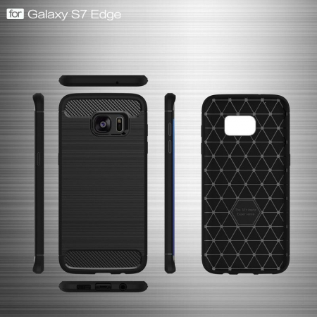 Husa Tpu Carbon Fibre Brushed Samsung Galaxy S7 Edge - rosu5
