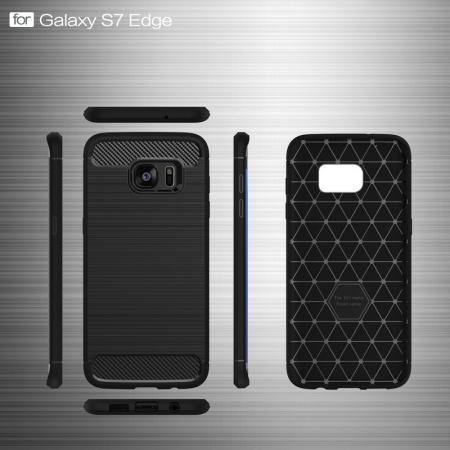 Husa Tpu Carbon Fibre Brushed Samsung Galaxy S7 Edge- gri5