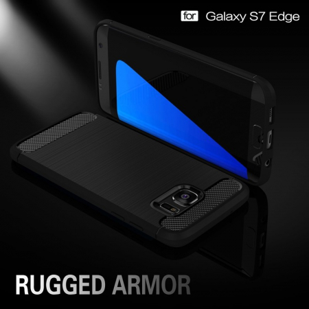 Husa Tpu Carbon Fibre Brushed Samsung Galaxy S7 Edge- gri3