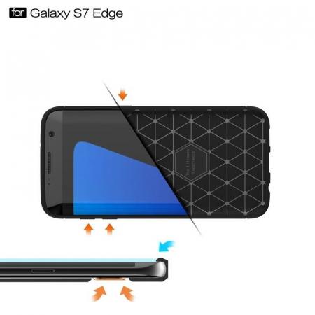 Husa Tpu Carbon Fibre Brushed Samsung Galaxy S7 Edge - albastru1