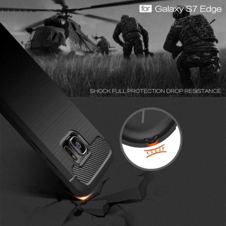 Husa Tpu Carbon Fibre Brushed Samsung Galaxy S7 Edge - negru5