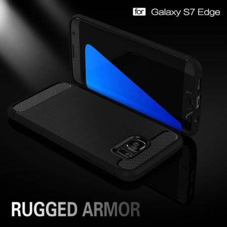 Husa Tpu Carbon Fibre Brushed Samsung Galaxy S7 Edge - albastru2