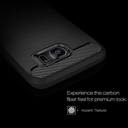 Husa Tpu Carbon Fibre Brushed Samsung Galaxy S7 Edge - negru3