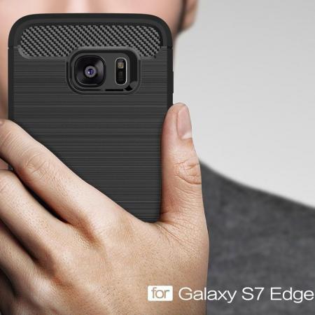Husa Tpu Carbon Fibre Brushed Samsung Galaxy S7 Edge - negru7