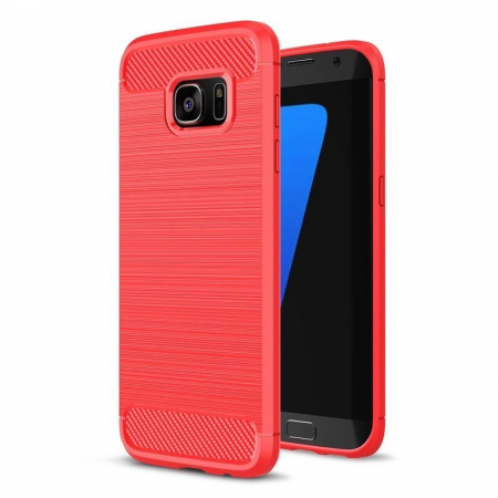 Husa Tpu Carbon Fibre Brushed Samsung Galaxy S7 Edge - rosu0