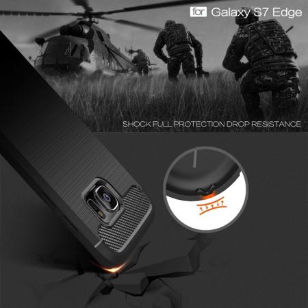 Husa Tpu Carbon Fibre Brushed Samsung Galaxy S7 Edge- gri6