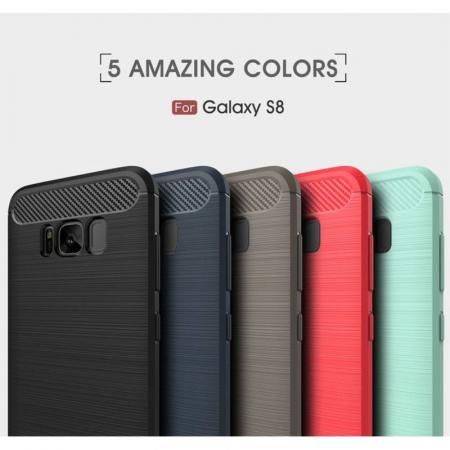 Husa Tpu Carbon Fibre Brushed Samsung Galaxy S8 - turcoaz [4]