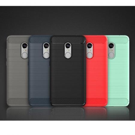 Husa Tpu Carbon Fibre Brushed Xiaomi Redmi Note 4 - albastru8