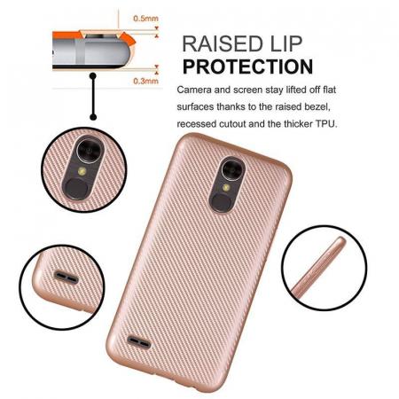 Husa LG K10 (2017) Tpu Carbon - argintiu5