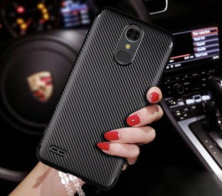 Husa LG K10 (2017) Tpu Carbon - argintiu3
