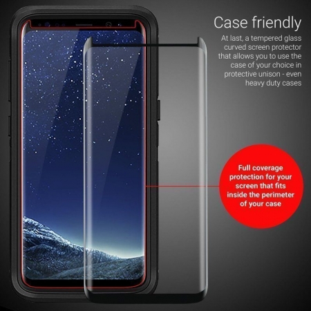 Sticla Securizata Samsung Galaxy S8 Full Screen Case Friendly - margini gold4