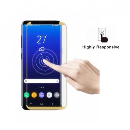 Sticla Securizata Samsung Galaxy S8 Full Screen Case Friendly - margini gold1