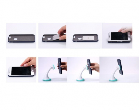 Suport auto magnetic Remax pentru telefoane, alb-gri7
