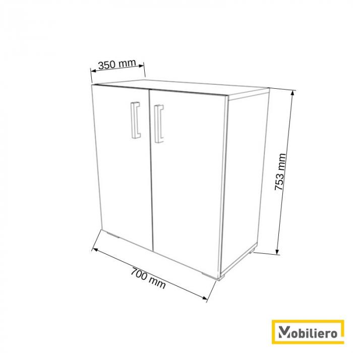 Dulap modular Duo 1P-2U 700 x 350 x 753 mm [1]