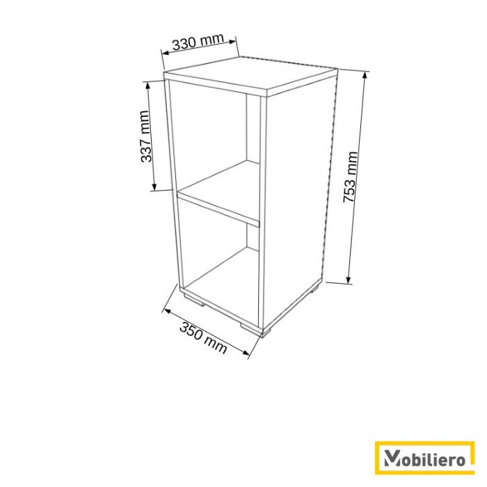 Etajera modulara Uno 2 compartimente 350 x 330 x 753 mm [1]