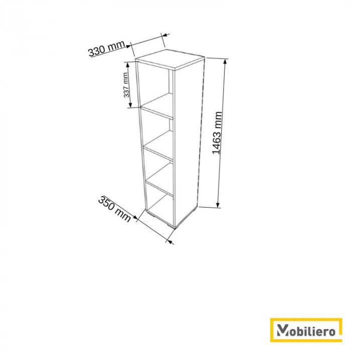 Etajera modulara Uno 4 compartimente 350 x 330 x 1463 mm [1]