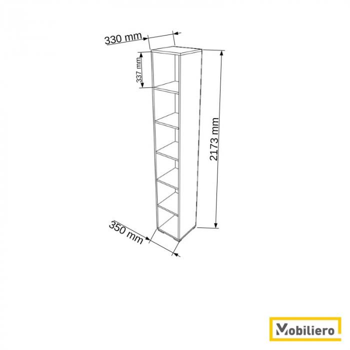 Etajera modulara Uno 6 compartimente 350 x 330 x 2173 mm [1]