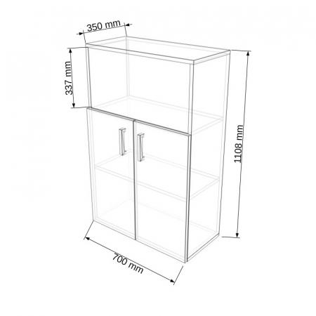 Dulap modular Duo 2U-1P-1G 700 x 350 x 1108 mm [1]
