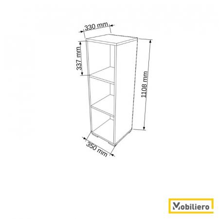 Etajera modulara Uno 3 compartimente 350 x 330 x 1108 mm [1]