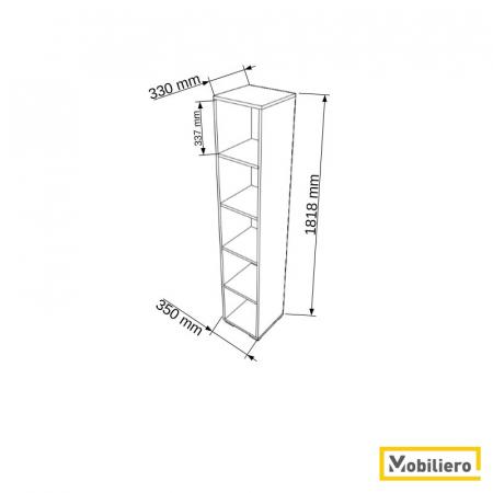 Etajera modulara Uno 5 compartimente 350 x 330 x 1818 mm [1]