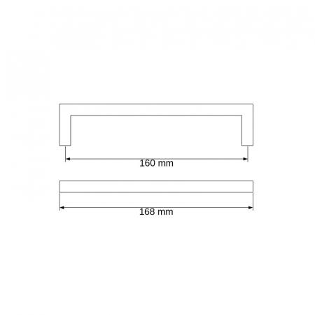 Maner metalic U negru mat [1]