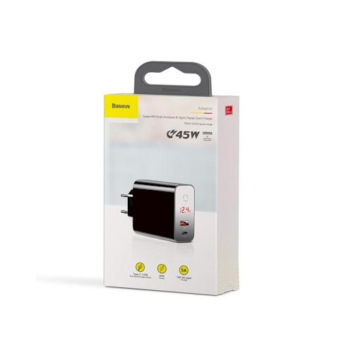 Incarcator retea Baseus PPS QC USB + PD 45W negru cu display 5