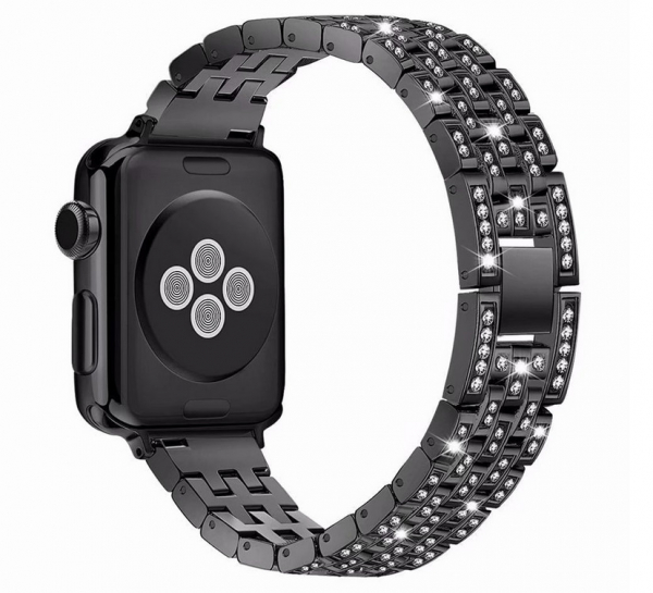Bratara Apple Watch 3 Watch 4 42/44mm, crystal diamond strap Black 0