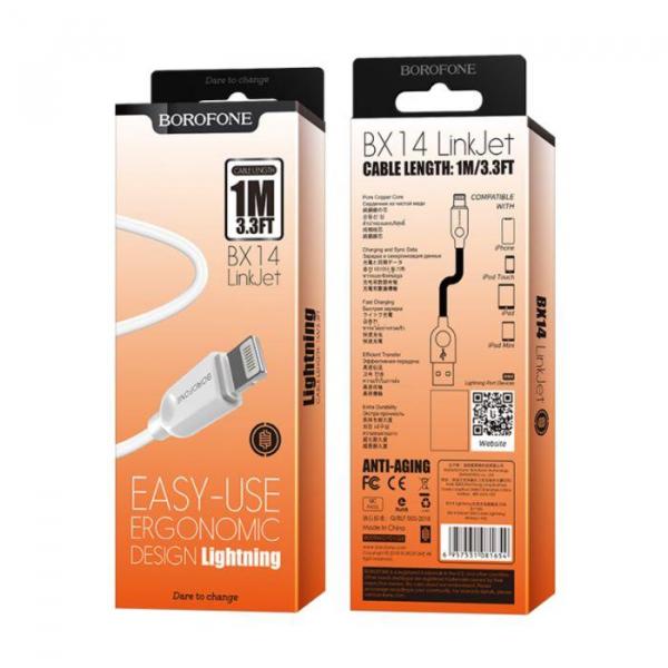 Cablu date iPhone 1m 2.4A,  LinkJet BX14 IPHONE lightning 2 metri, ALb 0