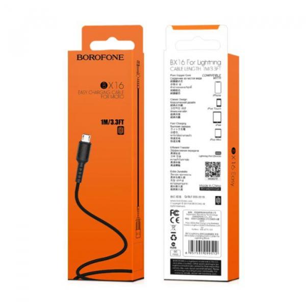 Cablu date MicroUSB 1m 2.4A,  Easy BX16 1m Negru [0]