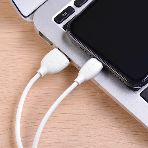 Cablu date iPhone 1m 2.4A, Alb Lighting Cable Borofone BX19 3