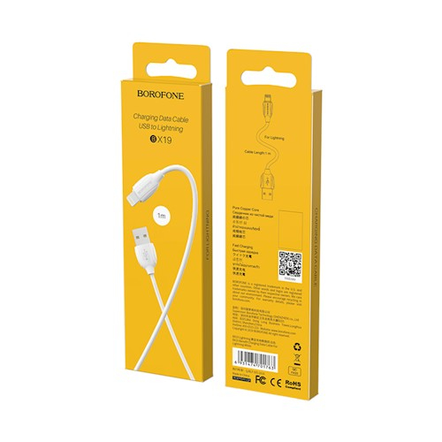 Cablu date iPhone 1m 2.4A, Alb Lighting Cable Borofone BX19 0