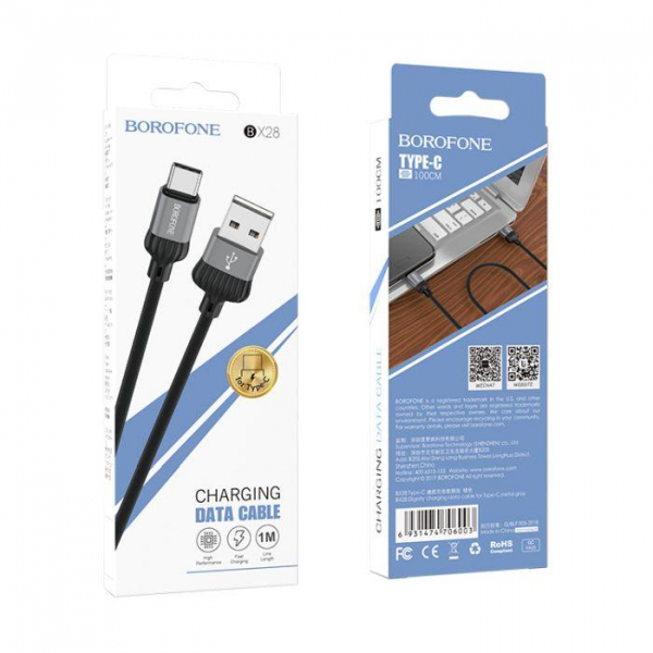Cablu date USB Type C, Borofone Dignity BX28 Type-C 1M black-gray [0]