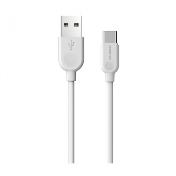 Cablu date USB Type C, Borofone LinkJet BX14 Type-C 1M white 1