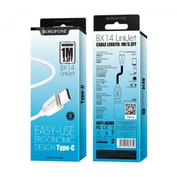 Cablu date USB Type C, Borofone LinkJet BX14 Type-C 1M white 0