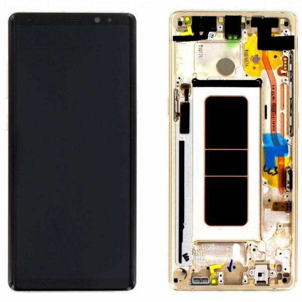 Ecran Display cu touchscreen si rama Samsung Galaxy Note 8 N950 Gold Swap Mic Burn 1