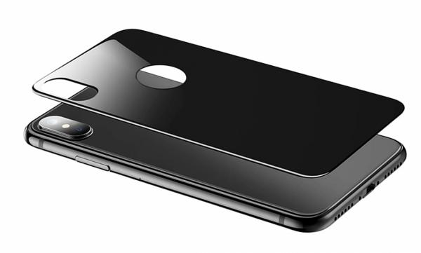Folie sticla Spate iPhone X, Black, 2.5D 0