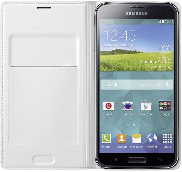 Husa Samsung Galaxy S5 Duos G900 EF-WG900BW alba Blister Originala 1