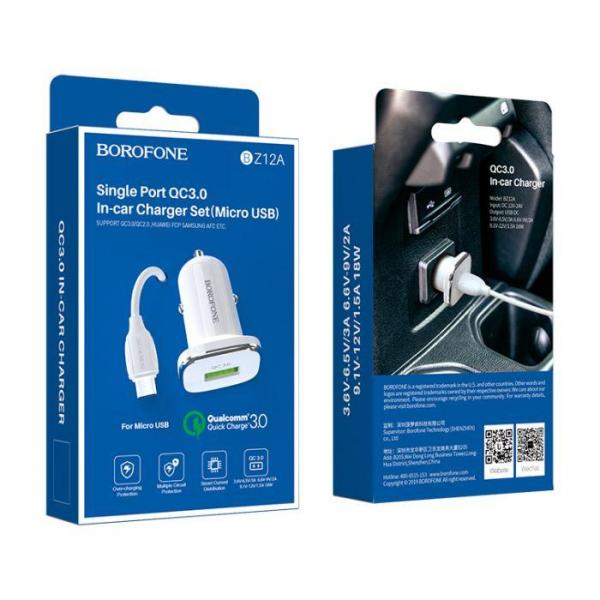 Incarcator Auto cu cablu Micro USB 3A 1x USB QC3.0  BZ12A 0