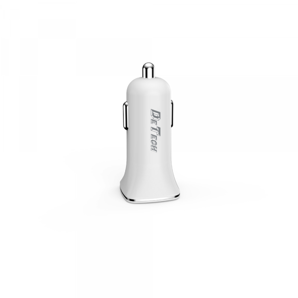 Incarcator auto DeTech DE-C01i, 5V/2.4A 2xusb,  cu cablu date iPhone inclus [1]