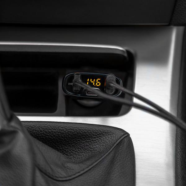 Incarcator auto Tellur cu 3 Porturi + Voltmetru, QC 3.0, 5.4A, 32W 3