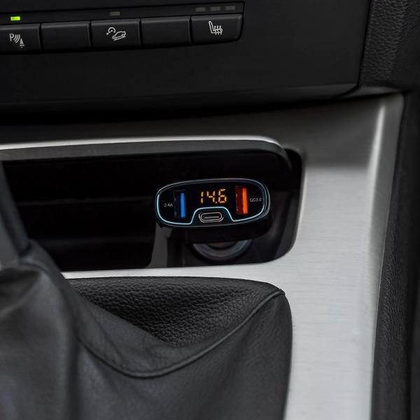 Incarcator auto Tellur cu 3 Porturi + Voltmetru, QC 3.0, 5.4A, 32W 2