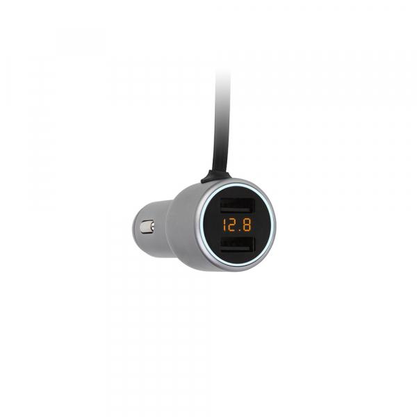 Incarcator auto Tellur cu Voltmetru si Cablu USB C inclus + 2 porturi usb.