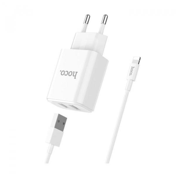 Incarcator retea cu cablu iPhone 2.1A 2.1A 2x USB plug + IPHONE lightning cable C62A set white 2