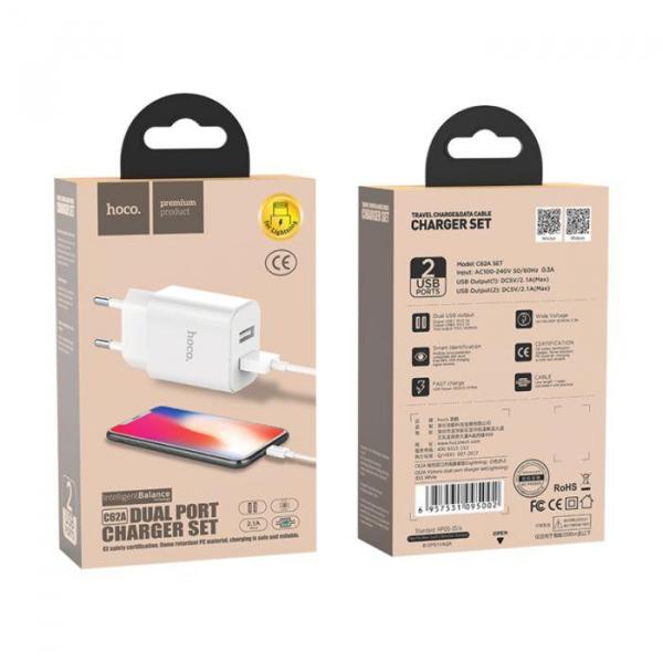 Incarcator retea cu cablu iPhone 2.1A 2.1A 2x USB plug + IPHONE lightning cable C62A set white 0