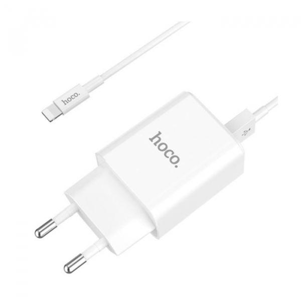 Incarcator retea cu cablu iPhone 2.1A 2.1A 2x USB plug + IPHONE lightning cable C62A set white 1