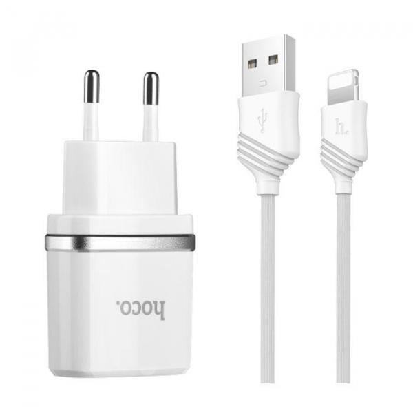 Incarcator retea cu cablu iPhone 2.4A 2x USB plug + IPHONE lightning cable C12 set ALB [2]